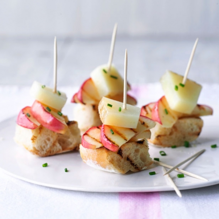 Spanish pink lady apple manchego tapas square