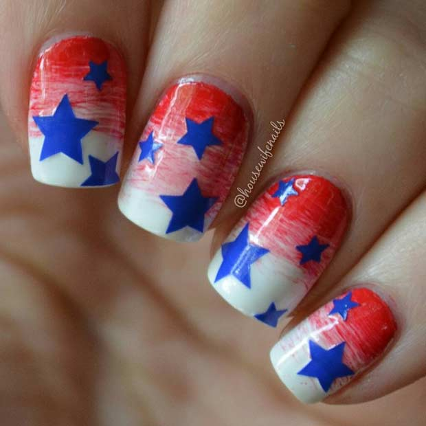 Light up your manicure with these 20 july 4th nail art designs star nail design for 4th of july prinsesfo Choice Image