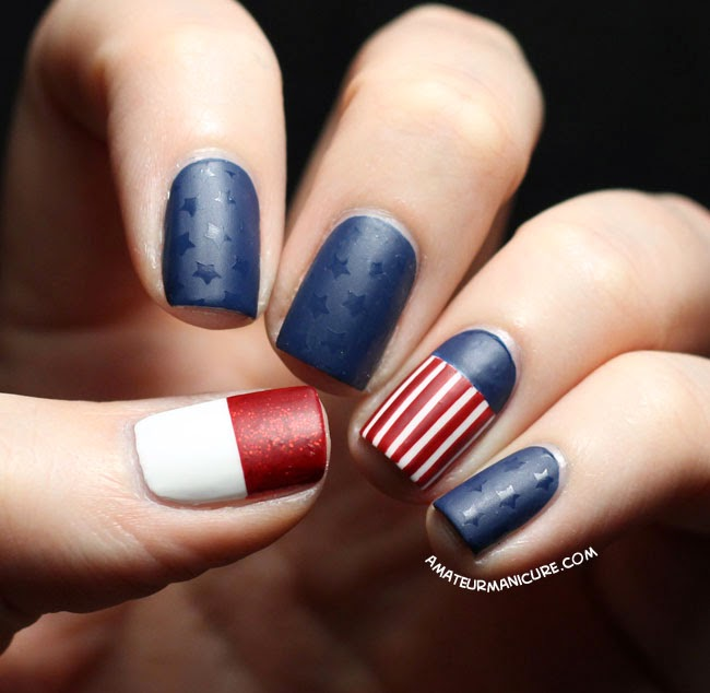 Stars and striped nail design
