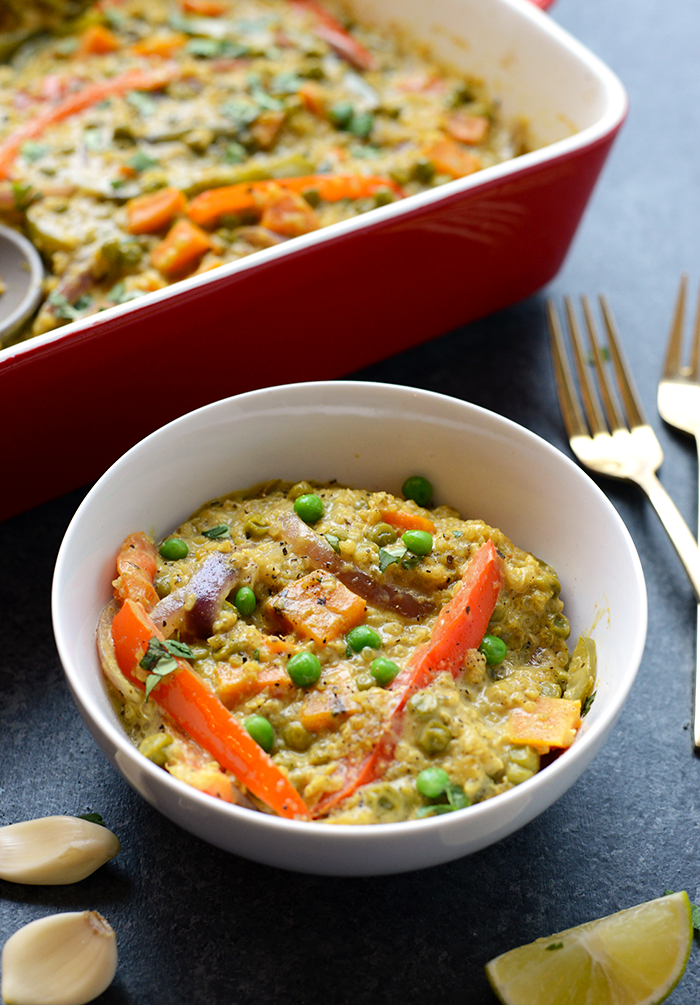 Sweet potato curry quinoa casserole
