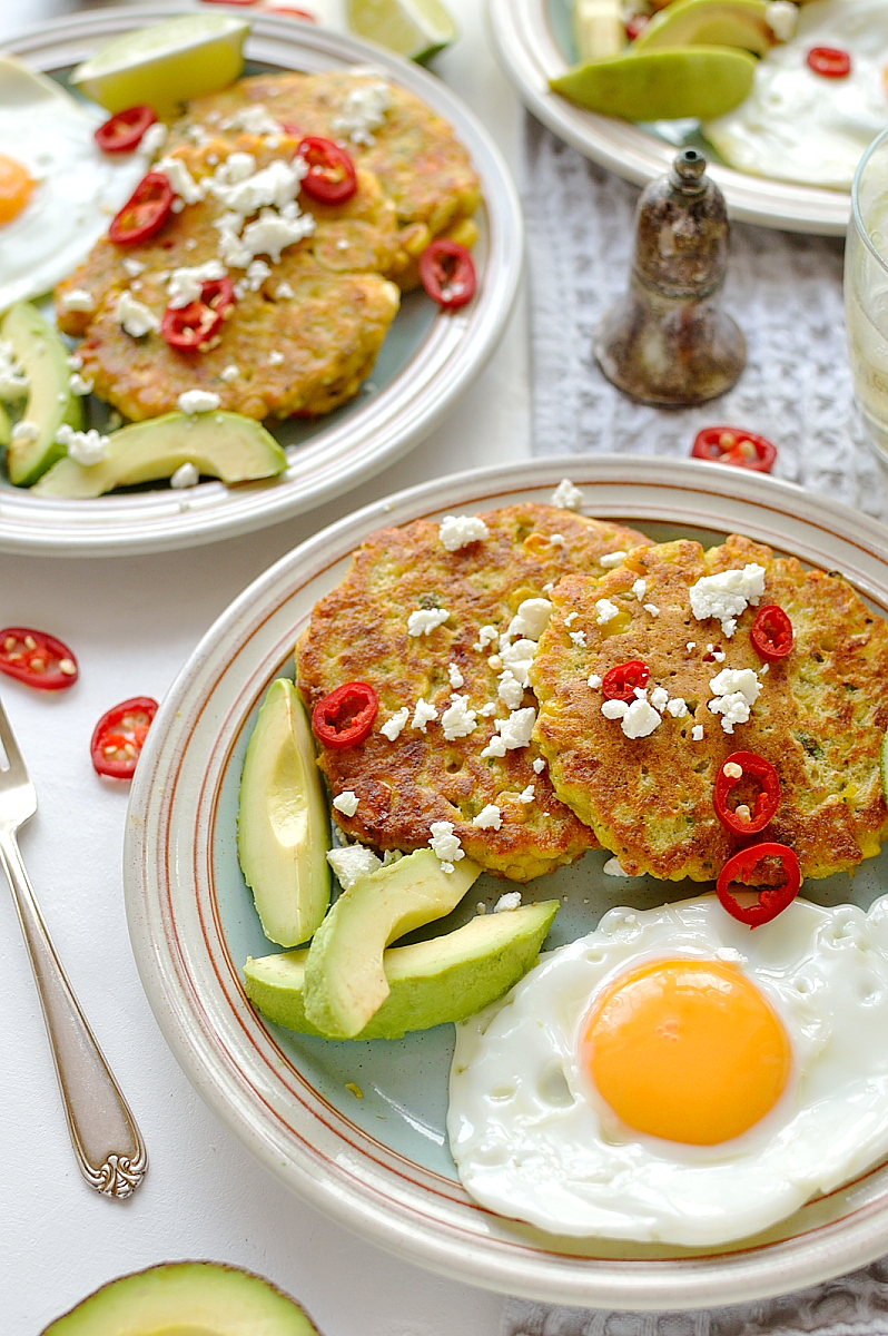 Sweetcorn and feta cheese fritters