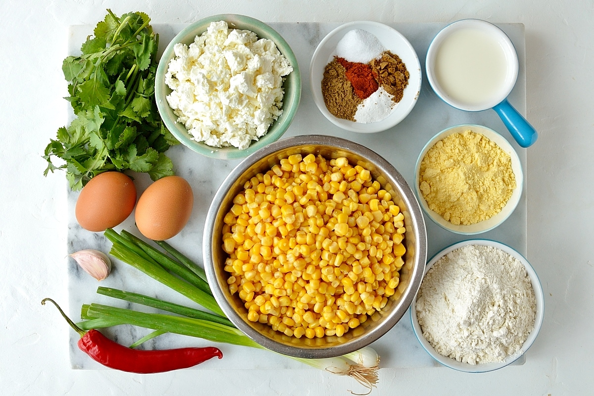 Sweetcorn and feta fritters ingredients