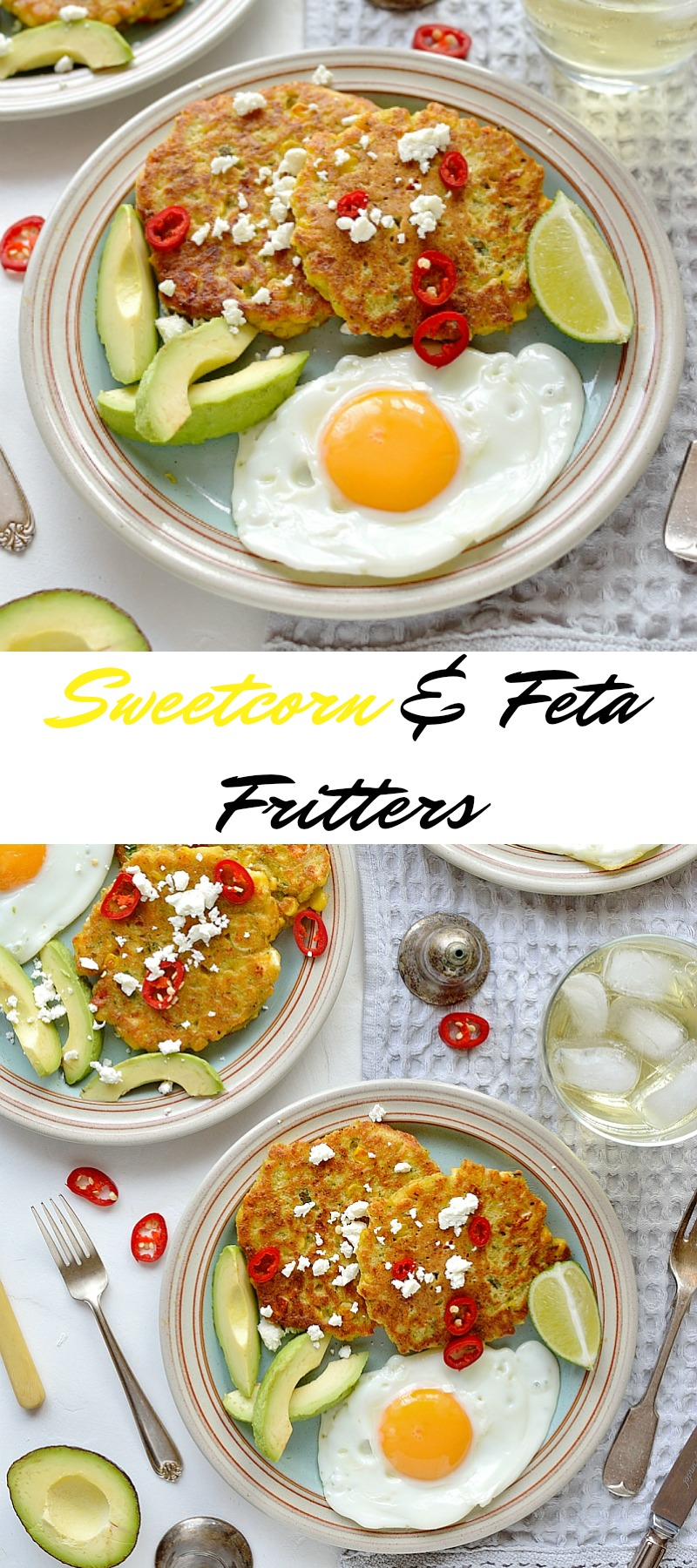 Sweetcorn and feta fritters pinterest
