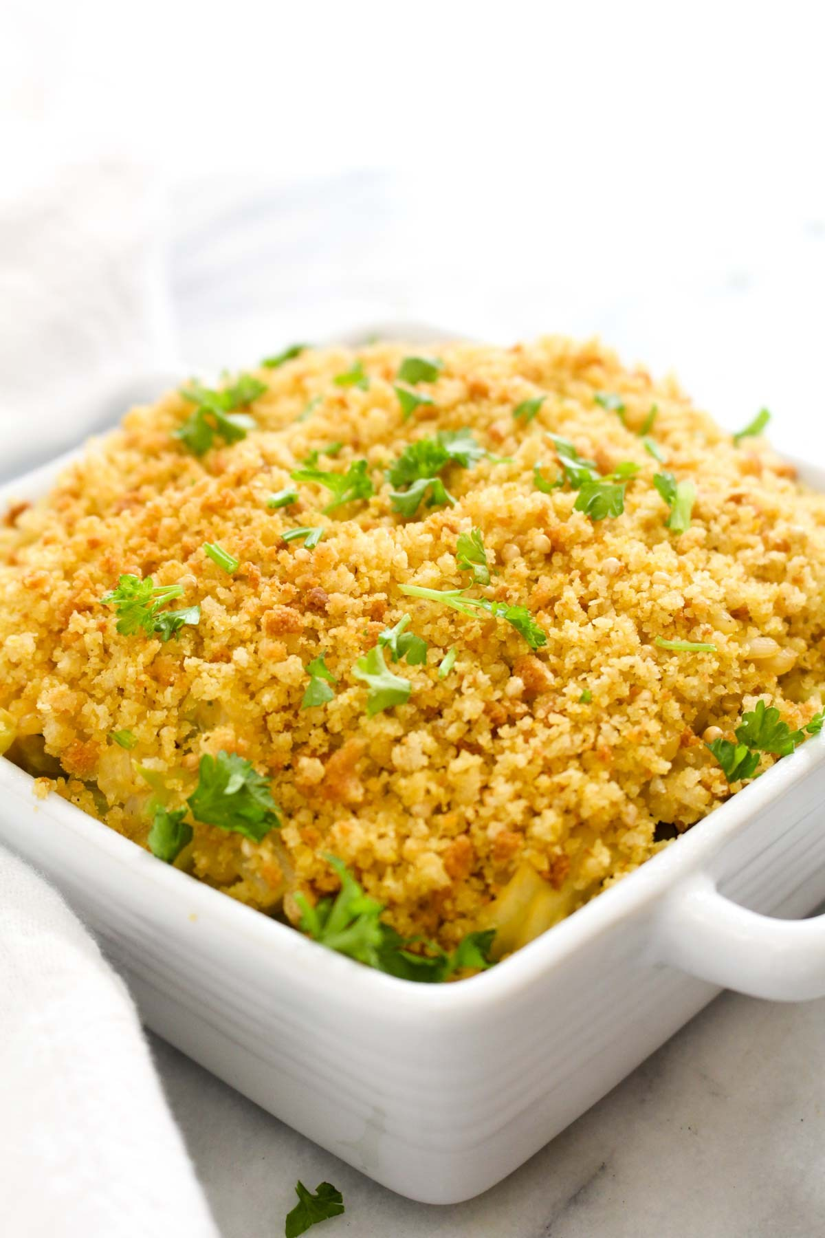 Vegan cheesy broccoli rice casserole