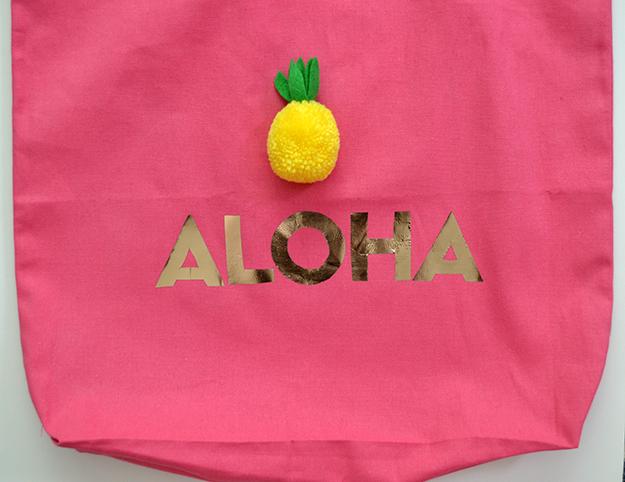 Aloha tote bag carryall arrange letters