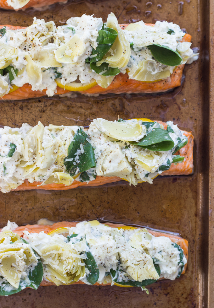 Artichoke and spinach roasted salmon 3