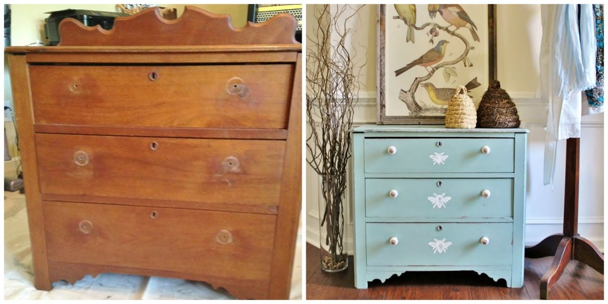 Before and after dresser with butterfyes