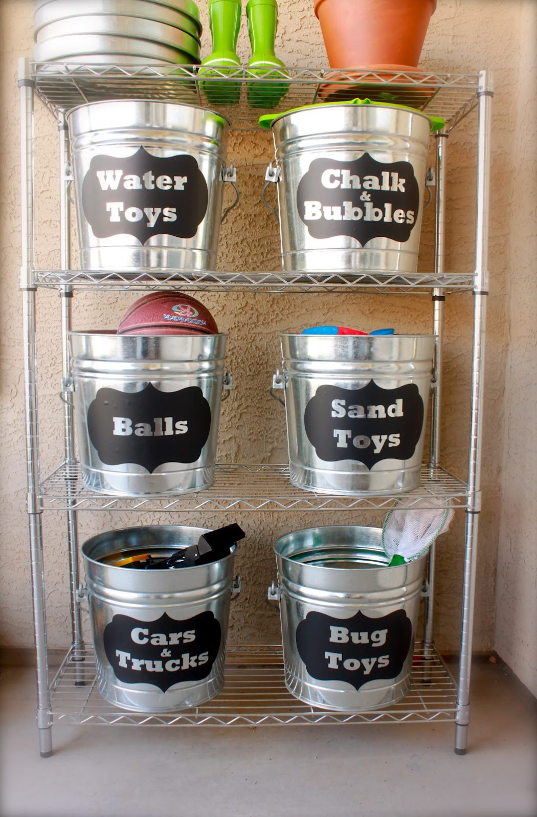 Buckets for toys garage organization