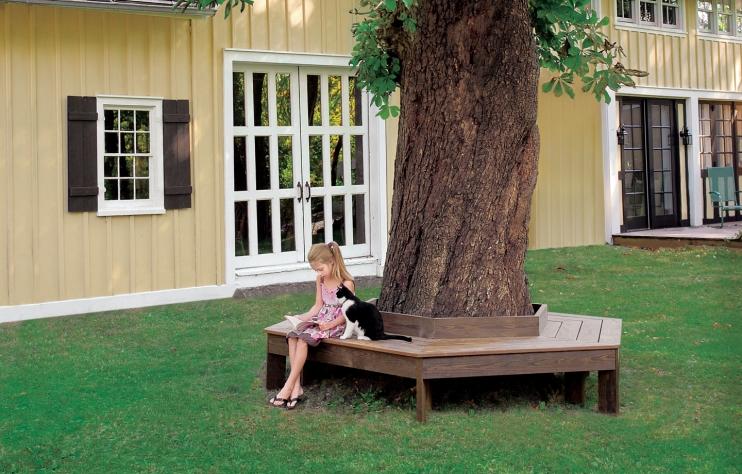 Circling tree bench
