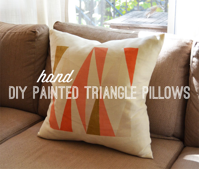 Coloured hand painted triangle pillow