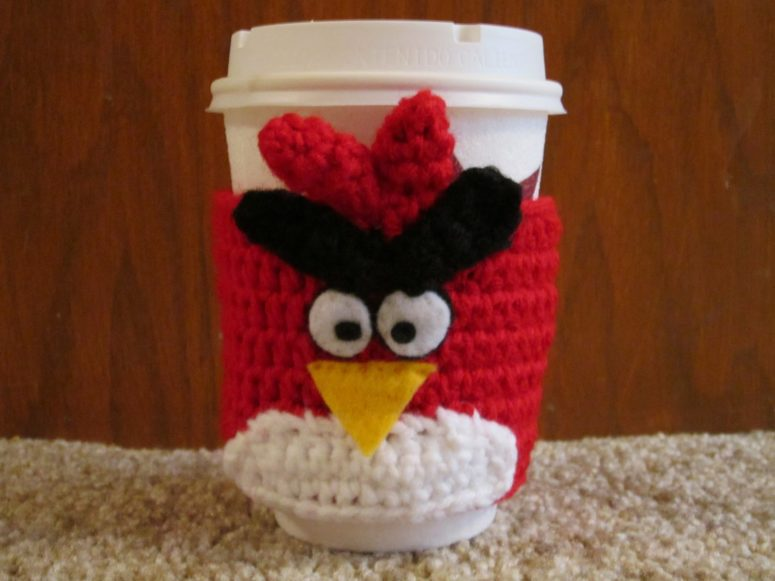 Crocheted angry birds cozy