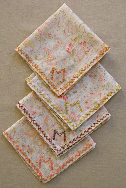 Cross stitch initial handkerchiefs