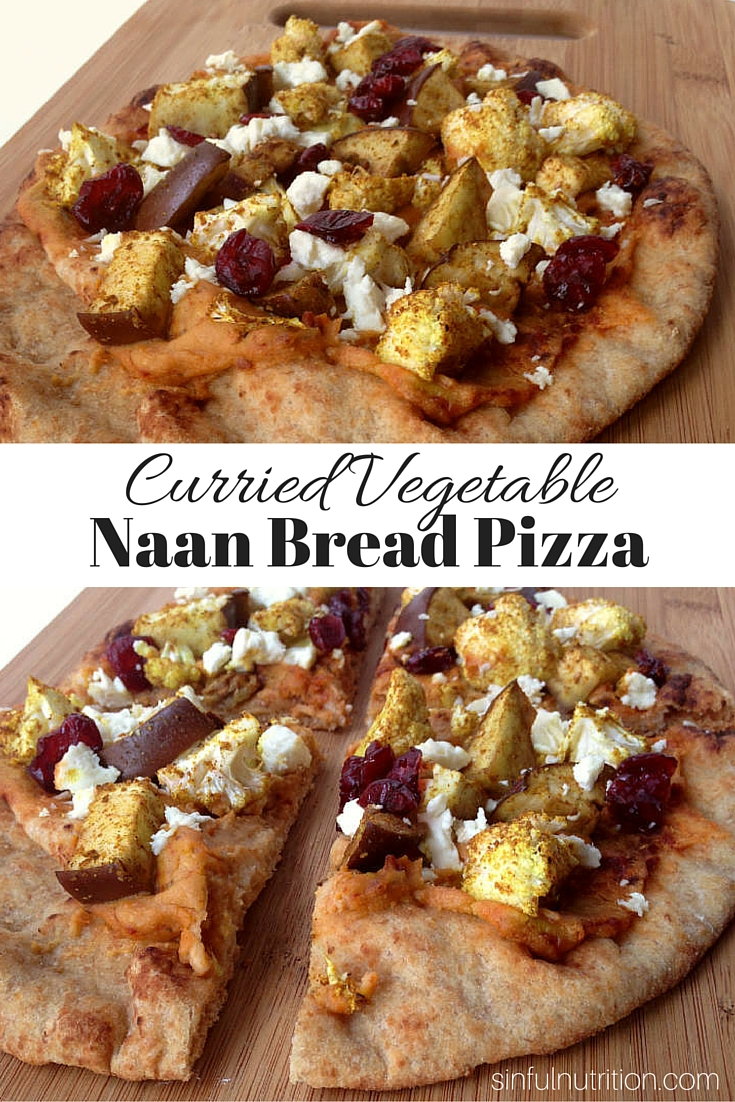 Curried vegetable naan bread pizza pin
