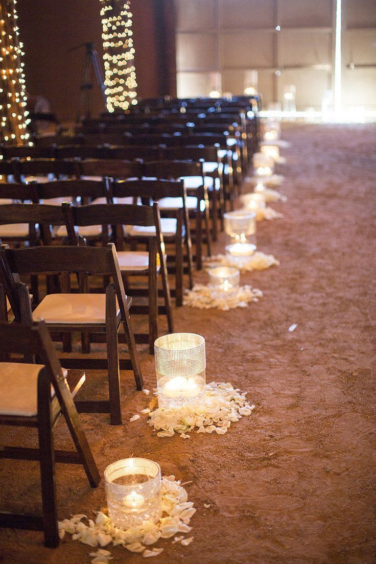 Diy floating candle barn wedding ceremony decor