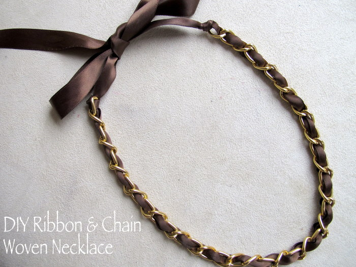 Diy designer inspired ribbon and chain necklace