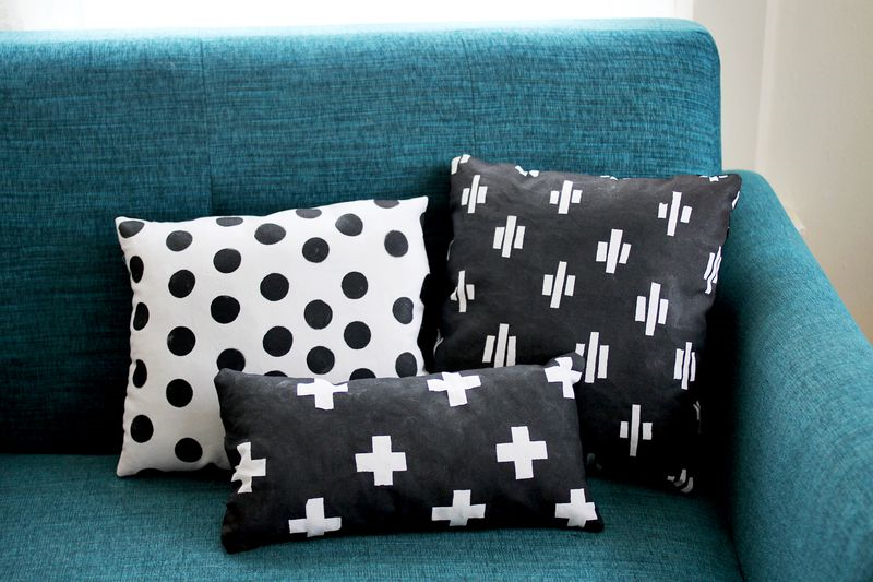 Dot and cross pillows
