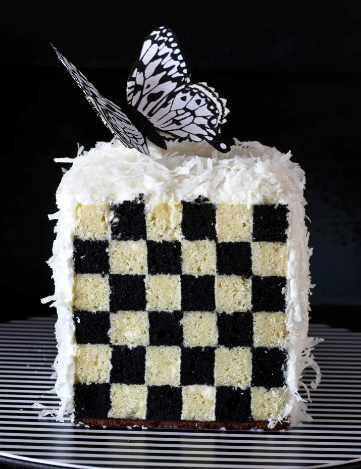 Ebony & ivory checkerboard cake
