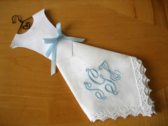 Embroidered wedding dress hankie