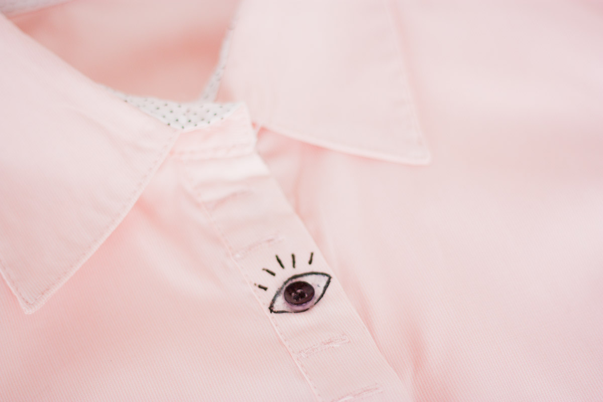 Eye buttons shirt diy design