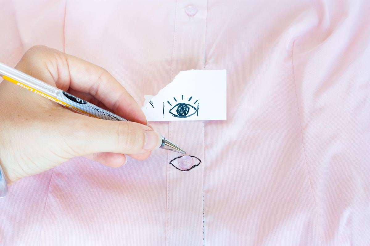 Eye buttons shirt diy stencil