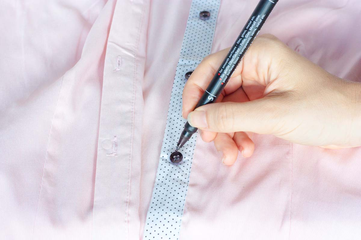 Eye buttons shirt diy textile marker