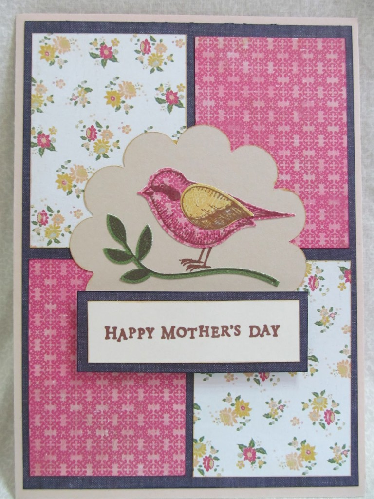 Fabric scrap bird card