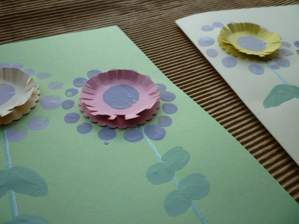 Finger print flower cards
