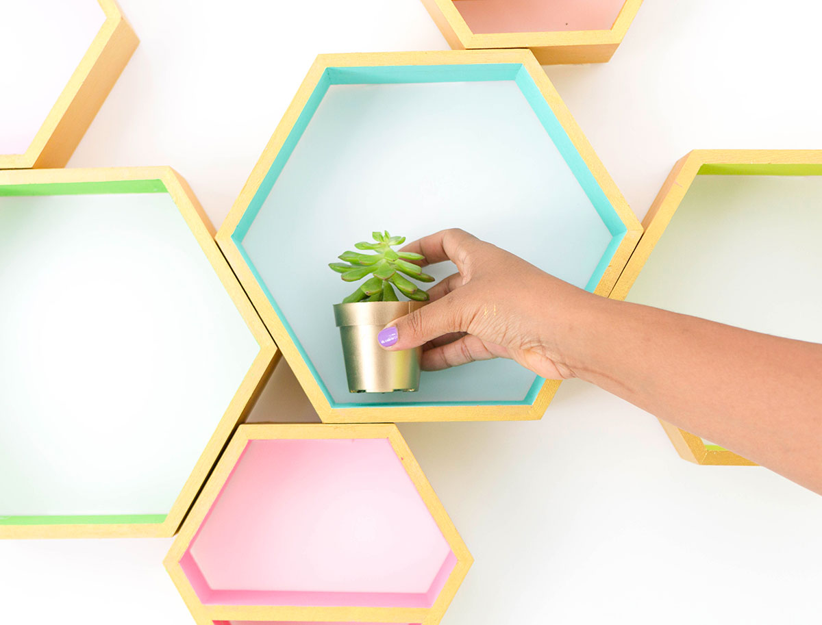 Gold painted wall hanging hexagon