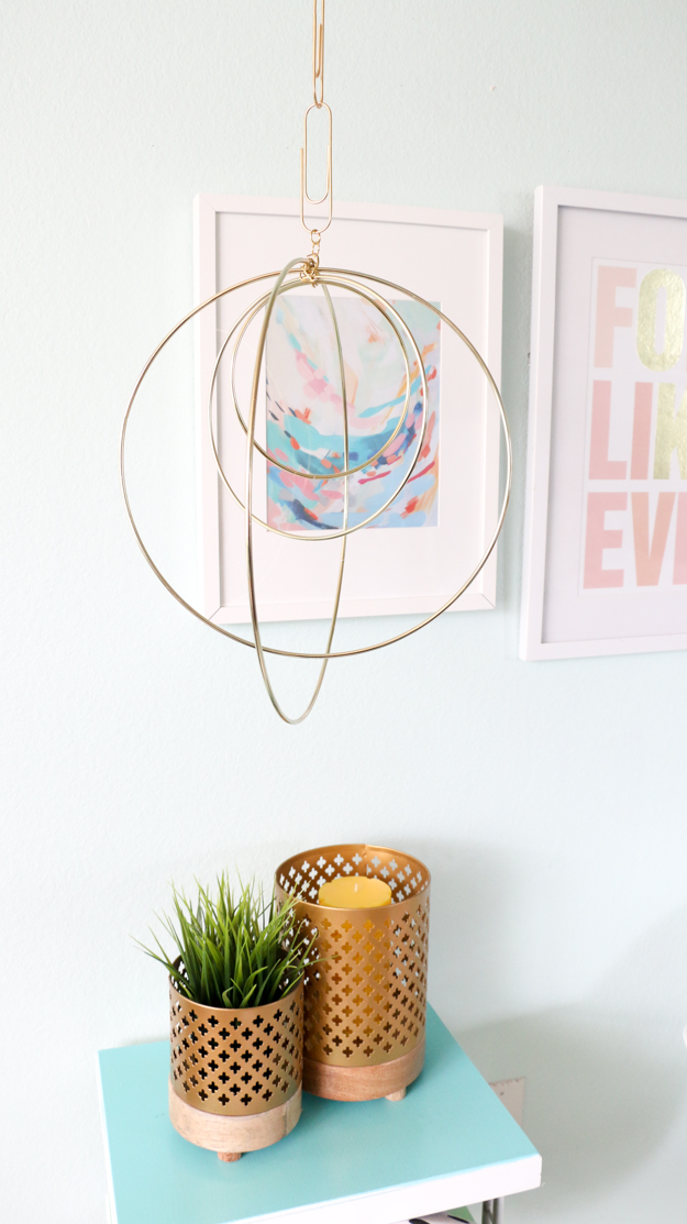 Gold macrame hoop mobile