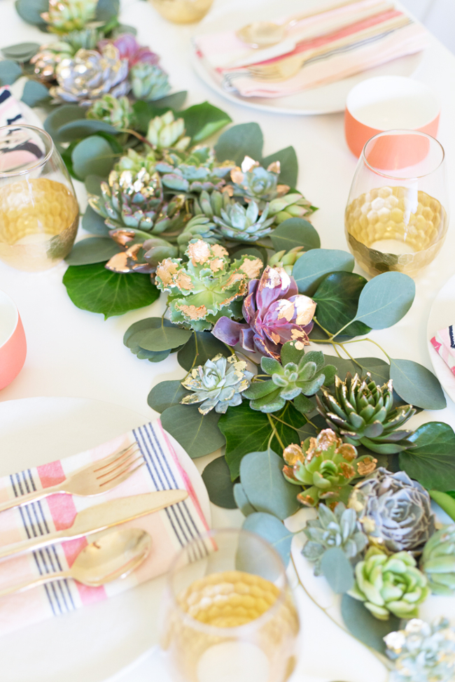 Gold tipped succulent table runner