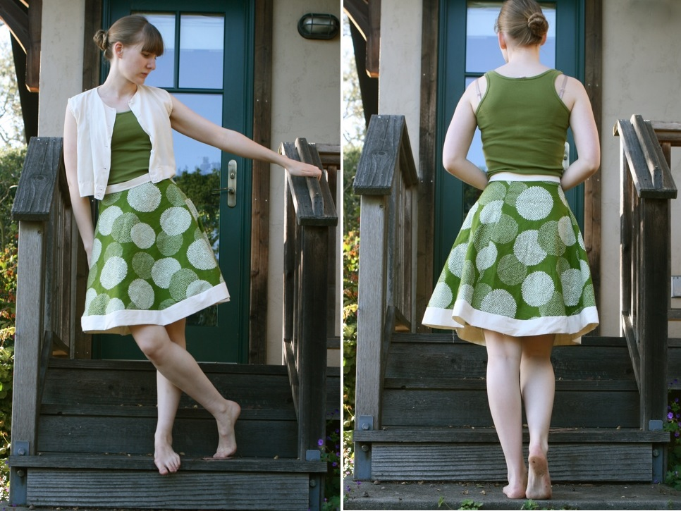 Green summer skirt