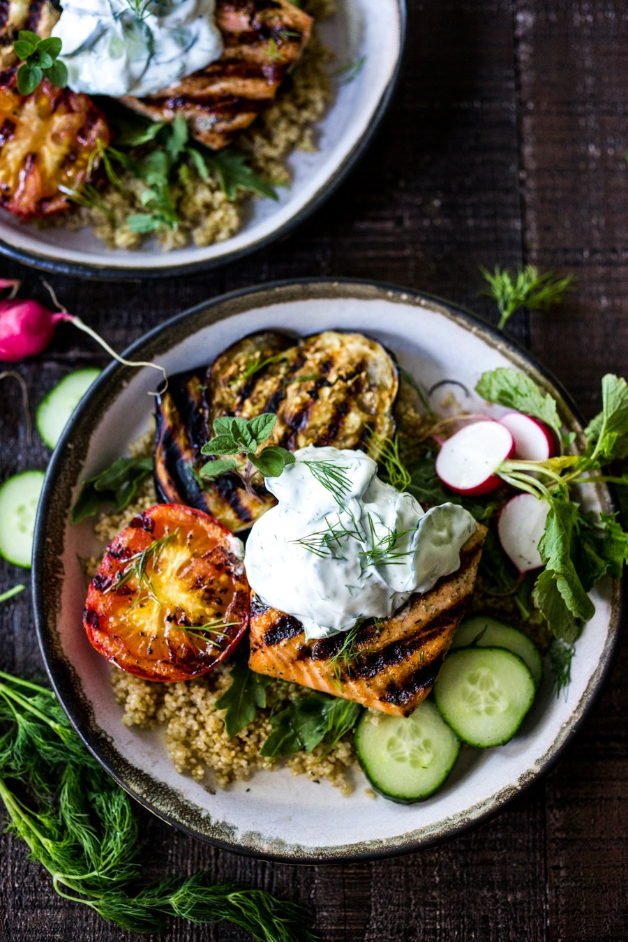 Grilled salmon tzatziki bowl