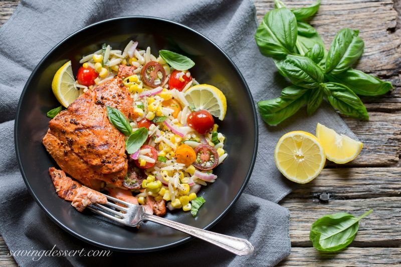 Grilled salmon w orzo salad