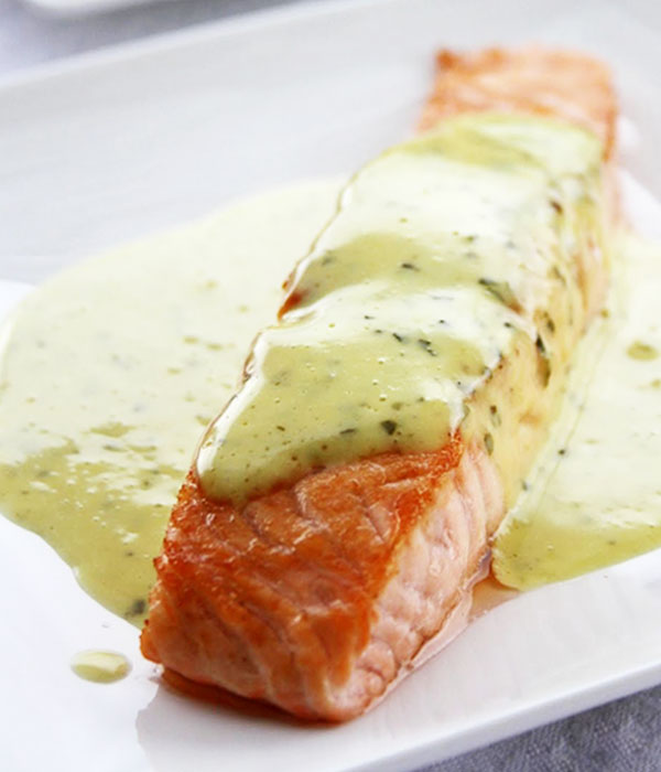 Grilled salmon steak recipe with mint basil sauce