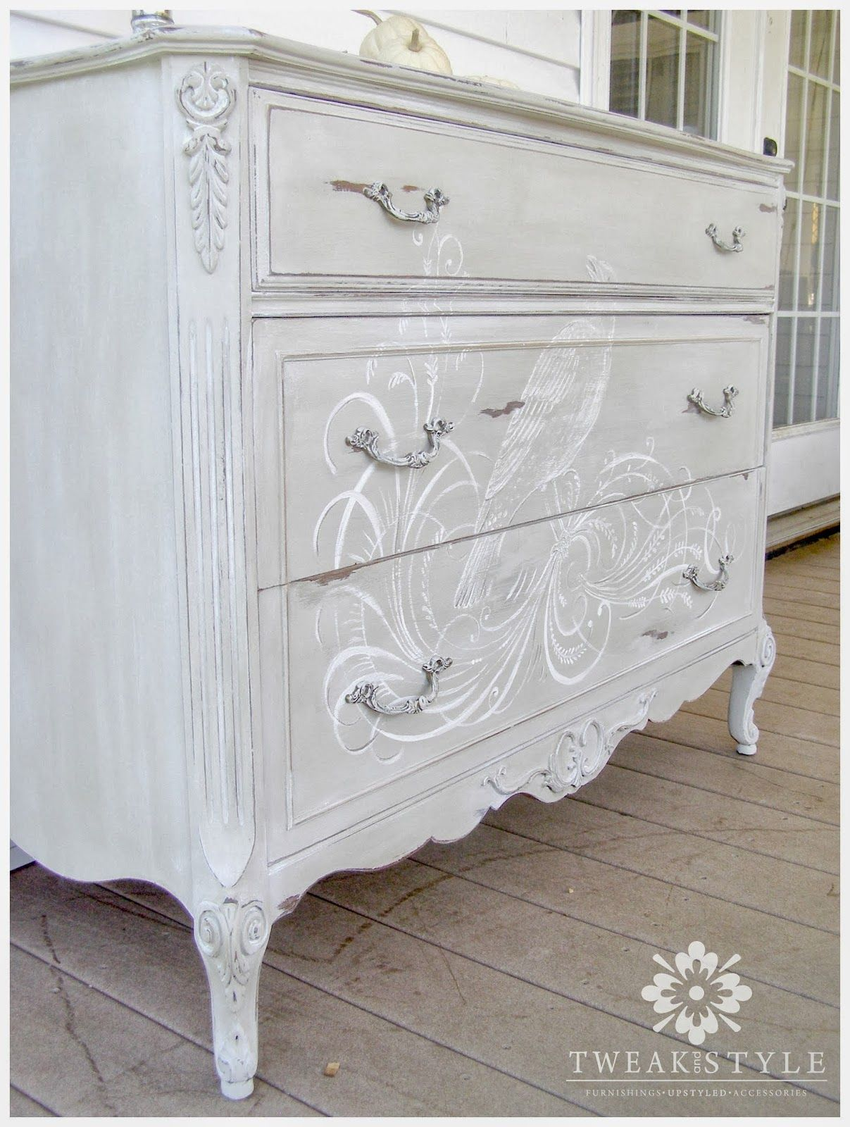 Hand painted calligraphy dresser