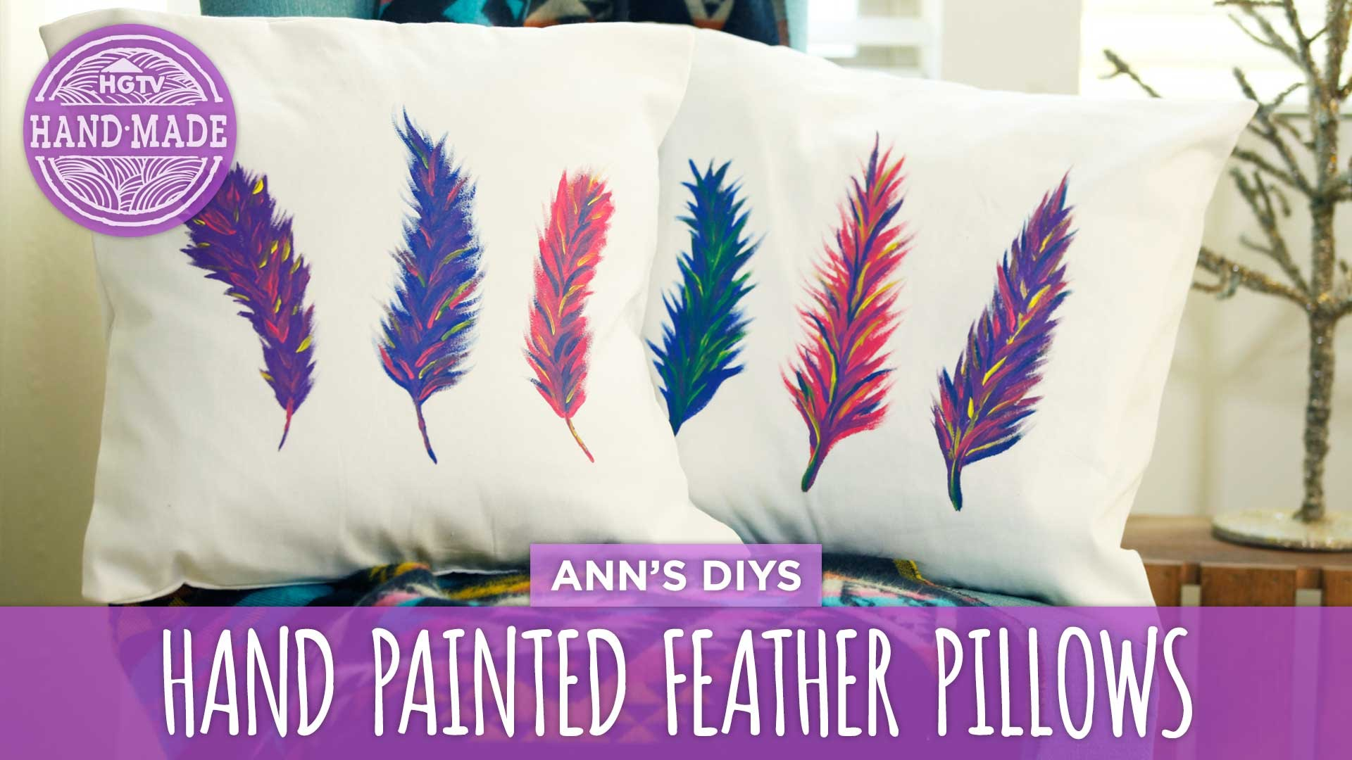 Hand painted feather pillows