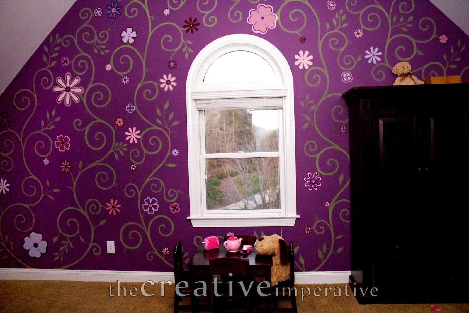 Hand painted vines and bright flowers