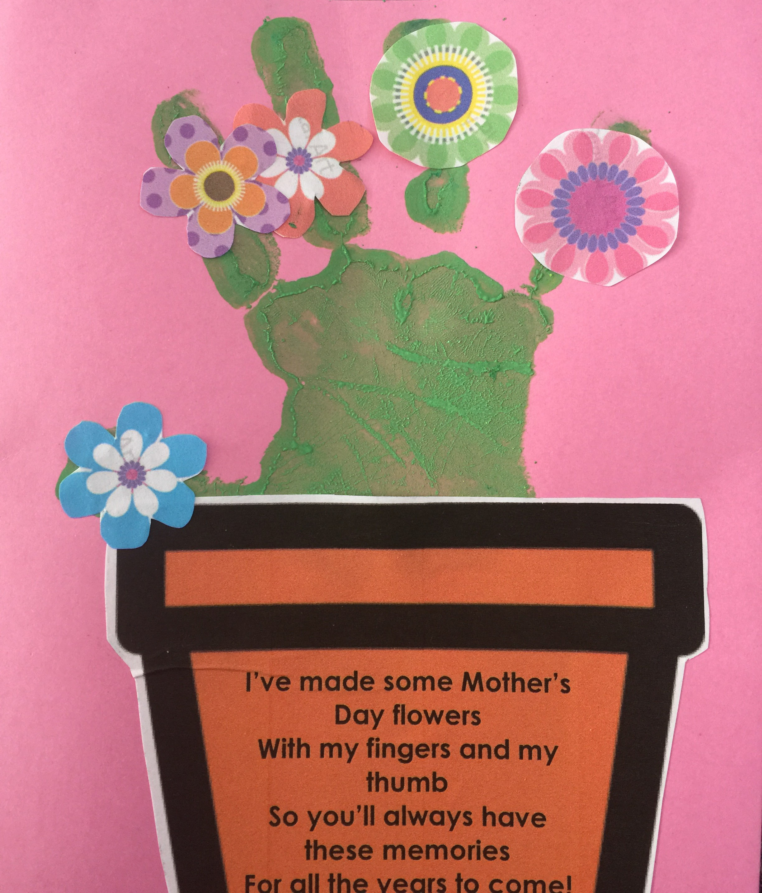 Hand print flower pot card