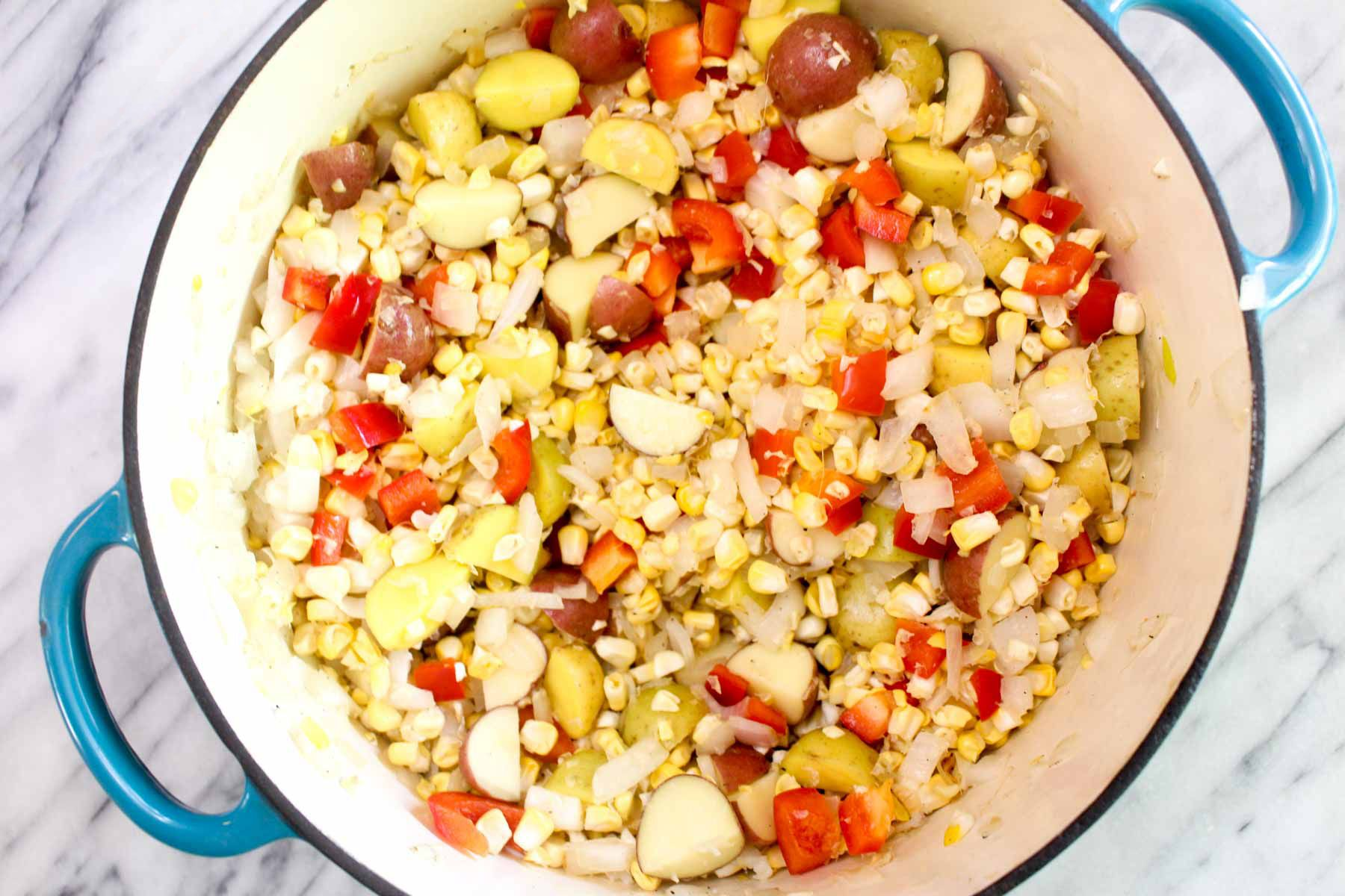 Healthy fresh corn chowder add the rest of ingredients