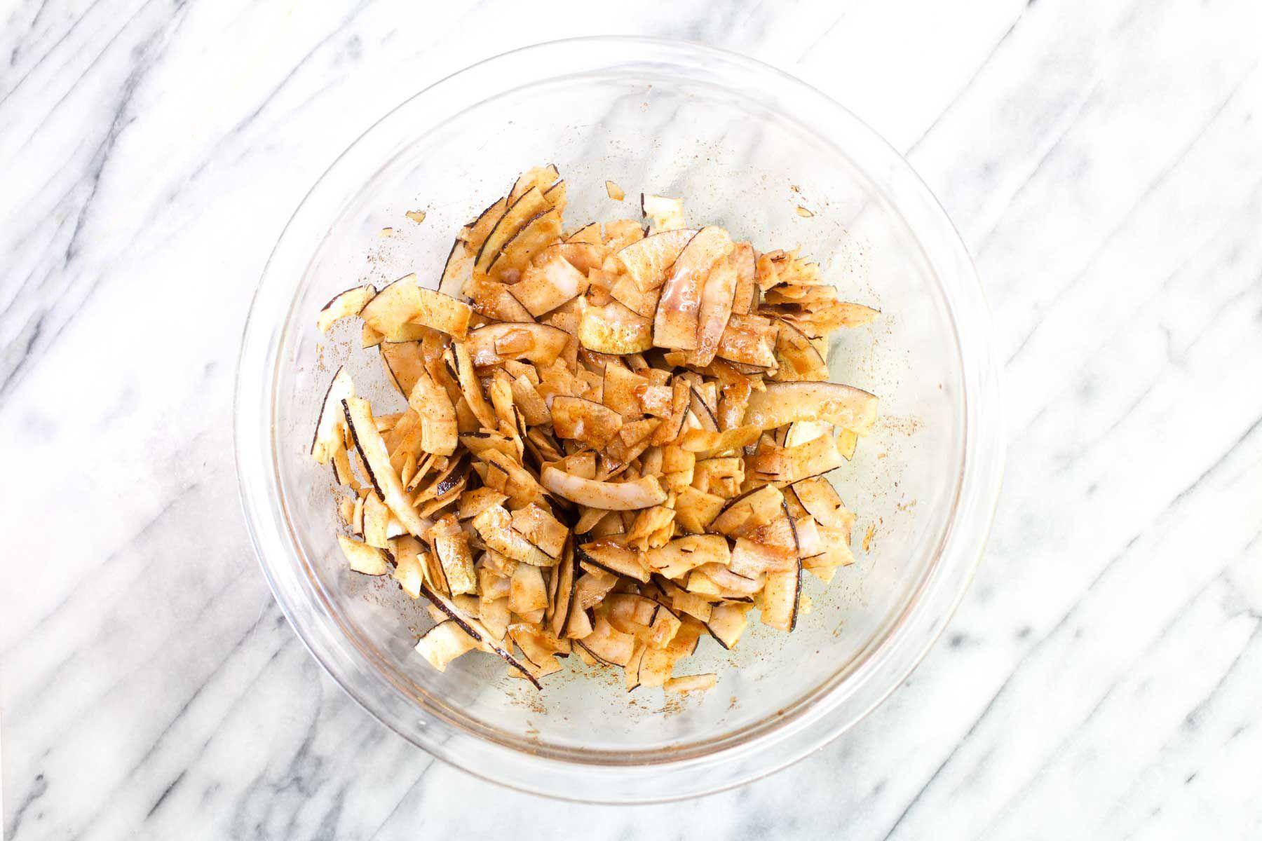 Healthy fresh corn chowder prepare the coconut flakes