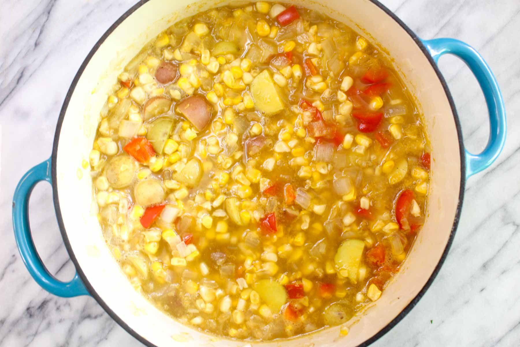 Healthy fresh corn chowder vegetable borth