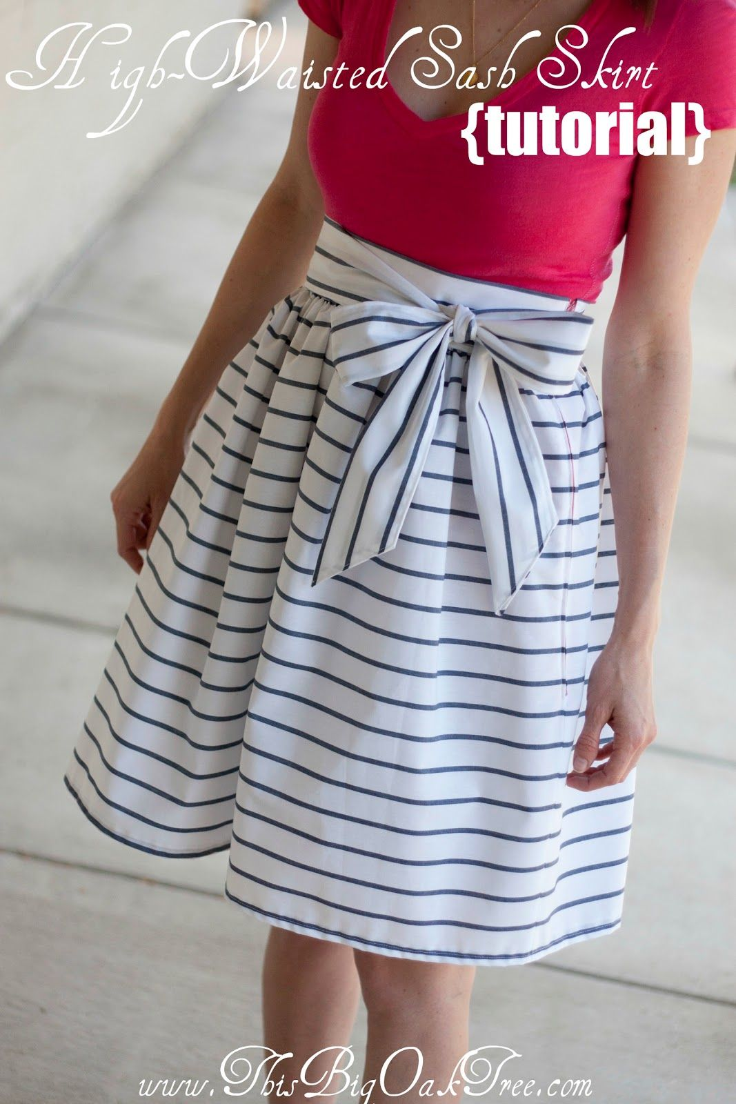 High waisted sash skirt