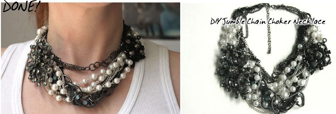Jumble chain choker necklace