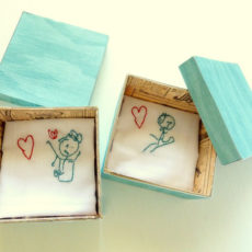 Kids' drawings handkerchief embroidery