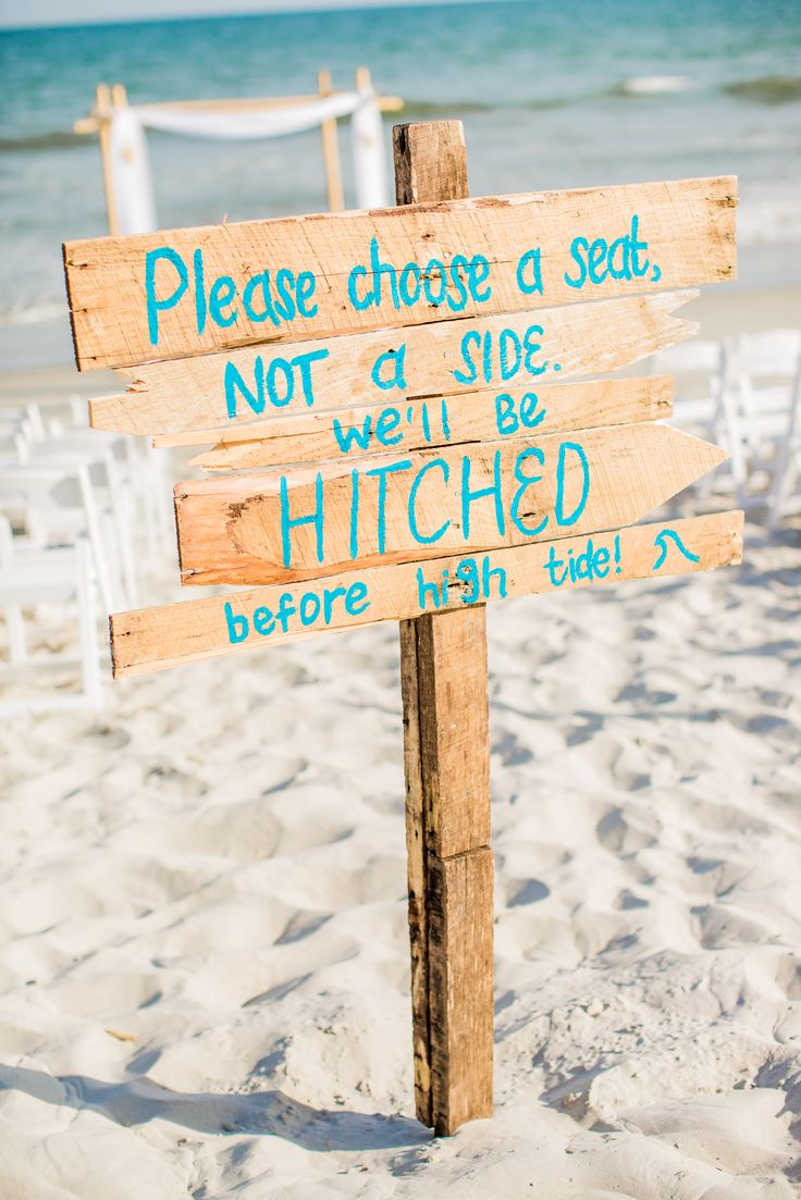 40 diy beach wedding ideas perfect for a destination celebration painted beach wood wedding sign junglespirit Gallery