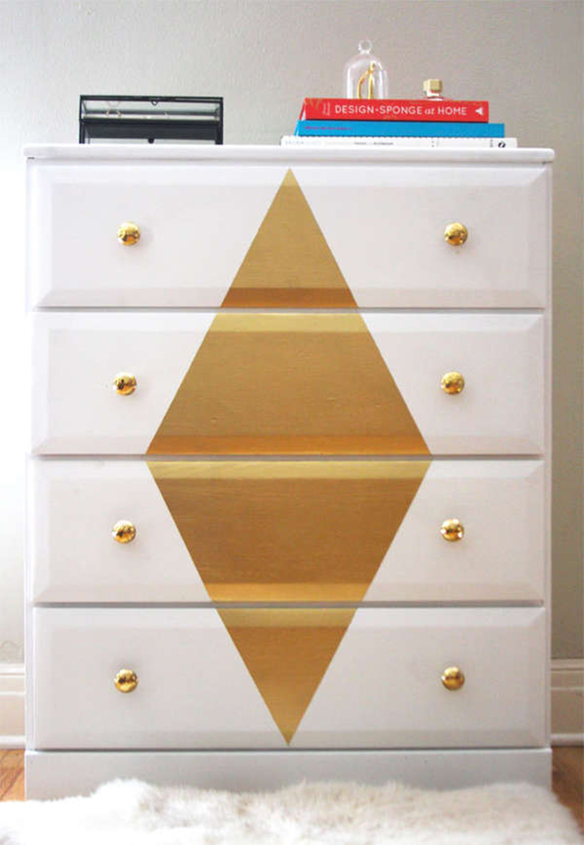 Painted gold diamond dresser