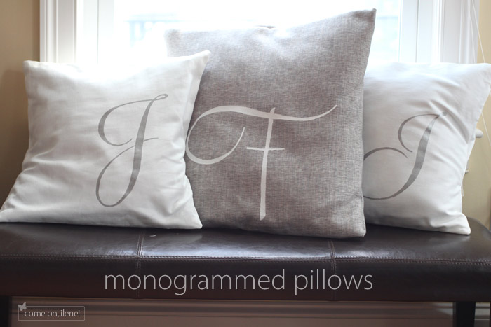 Painted monogram throw pillows