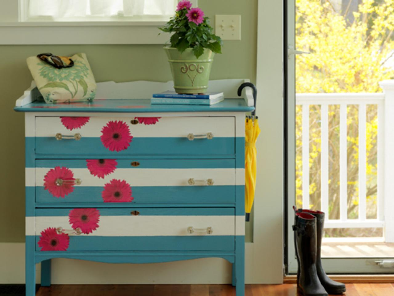 Painted Stripes And Bright Flower Stickers