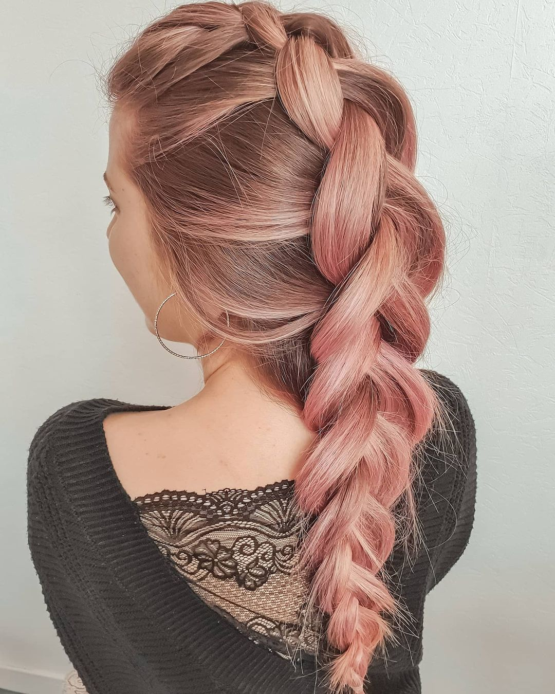 Pink loose dutch braid