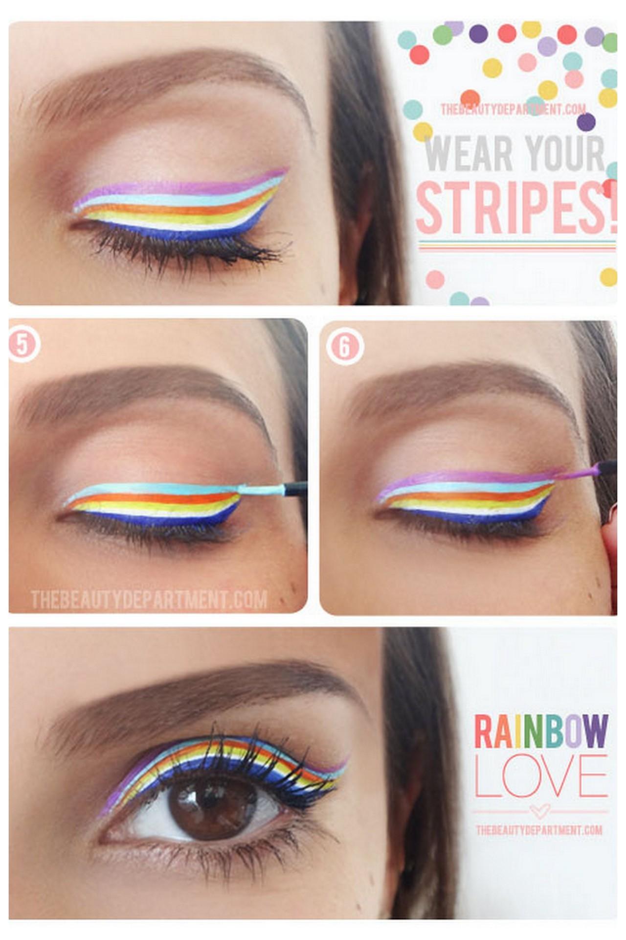 Rainbow stripe eyeliner